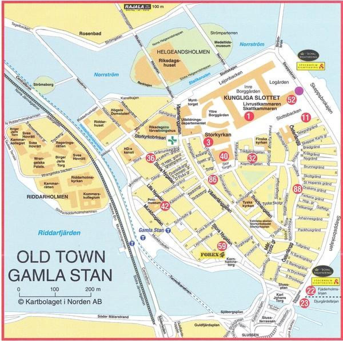 Tukholman Vanha Kaupunki Kartta Kartta Old Town Tukholma Ruotsi